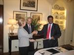 Jane Owen-Sir Richard Stagg-BV Naidu during the MoU signing