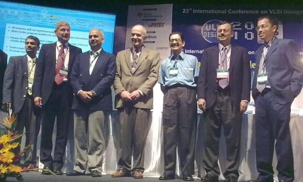 L-R: Dr. Mahesh Mehendale, Dr. Hermann Eul, Dr. Bobby Mitra, Prof. Dimitri A. Antoniadis, Dr. Ruben A. Parekhji, Prof. Niraj Jha and Srivaths Ravi at the VLSID 2010 opening ceremony.