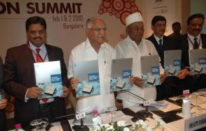 Karnataka Semicon Policy 2010 released at ISA Vision Summit 2010 by Hon'ble Chief Minister of Karnataka, B.S. Yeddyurappa and Hon'ble IT and BT Minister, Katta Subramanya Naidu, along with B.V. Naidu, chairman, ISA and other dignitaries.