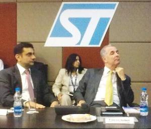 (L): Vivek Sharma, regional VP, Greater China & South Asia region -- India Operations and Director, India Desgin Center, STMicroelectronics and (R) Francois Guibert, executive VP and president Greater China & South Asia Region, STMicroelectronics.