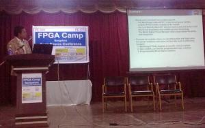 Lattice's Rakesh Agarwal presenting at the FPGA Camp in Bangalore.