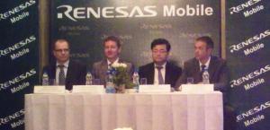 (L-R): Heikki Tenhunen, senior VP, Alan Frederiksen, MD, Renesas Mobile India,  Shinichi Yoshioka, senior executive VP and COO, and Jean-Marie Rolland, CTO and executive VP, Sales and Marketing.